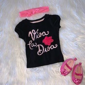 Viva La Diva Black Tee 6-12M